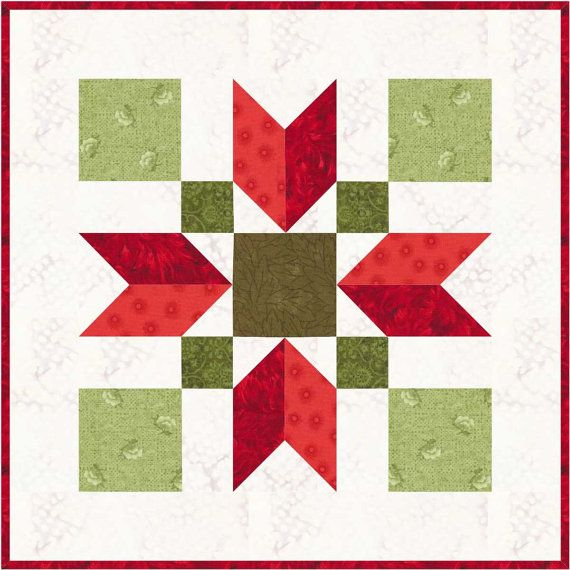 Christmas Poinsettia 12 Quilt Block Pattern Pdf Instant Download