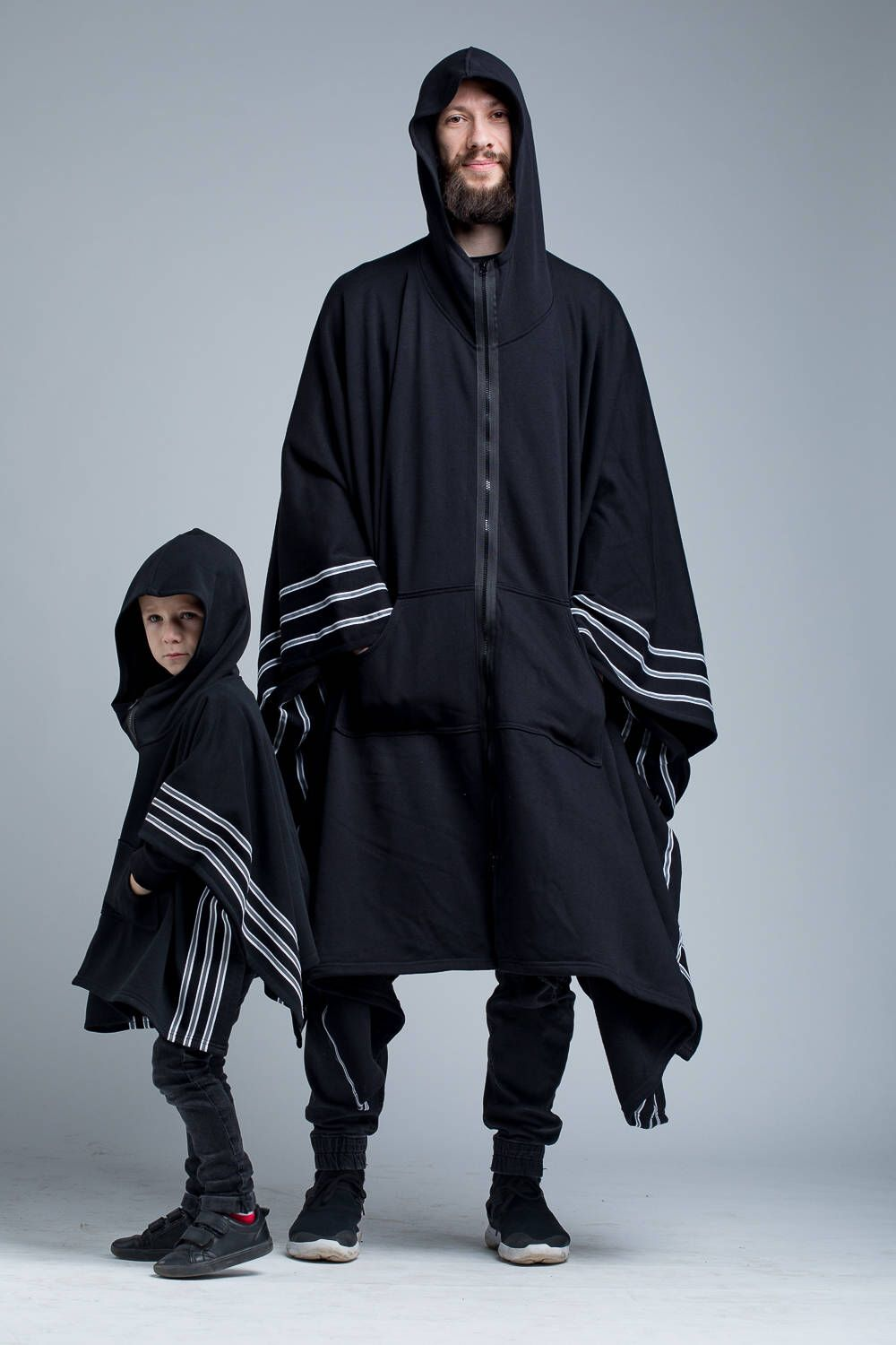 Matching ideas for family outfit with this Kids Poncho \ Black Poncho Child Kimono Coats Zipper Jacket Hooded Jacket Black Coat Black Kids Clothes Streetwear Clothing