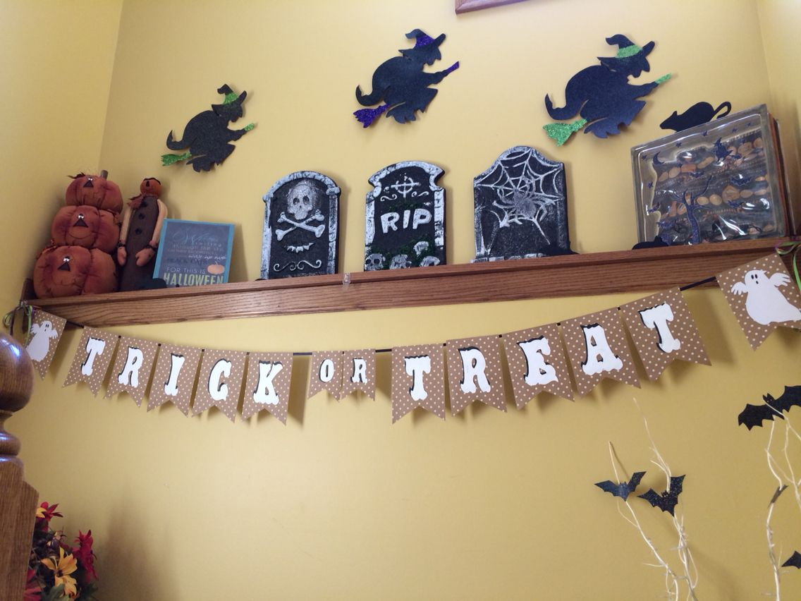 Witches I traced from Dollar Tree wall decor, glittered hat, broom ...