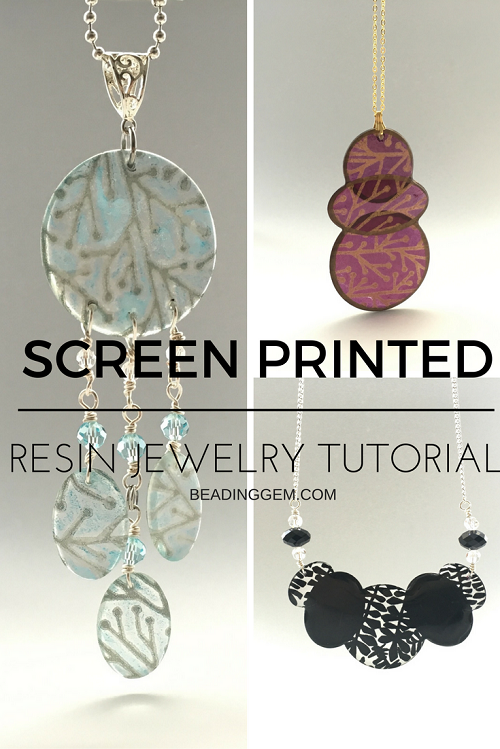Helen Breil Silk Screen used in this Translucent Screen Printed Resin Jewelry…