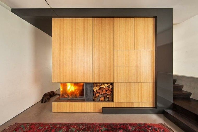 diseño chimeneas modernas perro fuego escalera Interiores con - chimeneas modernas