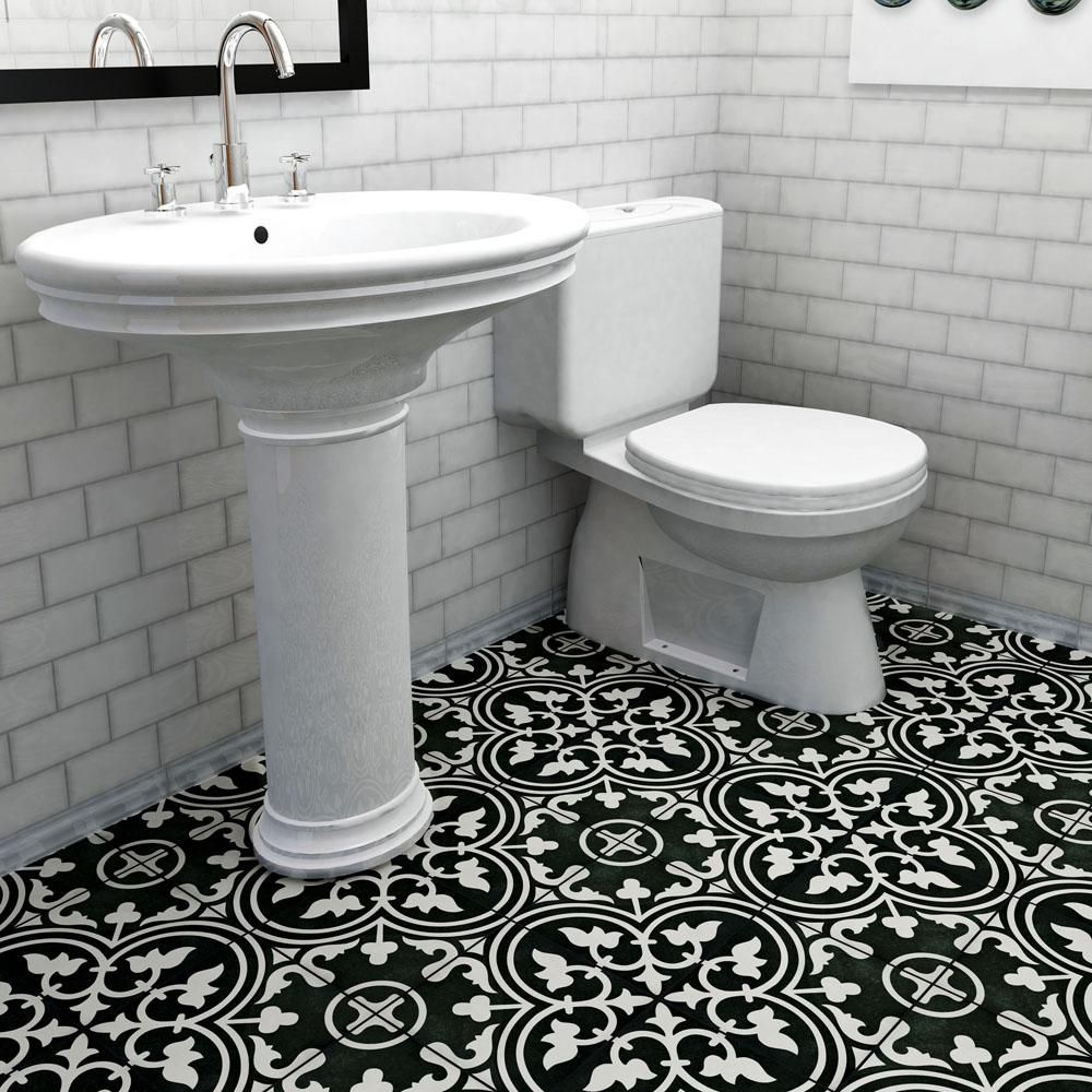 Merola Tile Arte Black Encaustic 9 3 4 In X 9 3 4 In Porcelain Floor And Wall Tile 11 11 Sq Ft Case Fcd10arb The Home Depot Merola Tile Porcelain Flooring Flooring