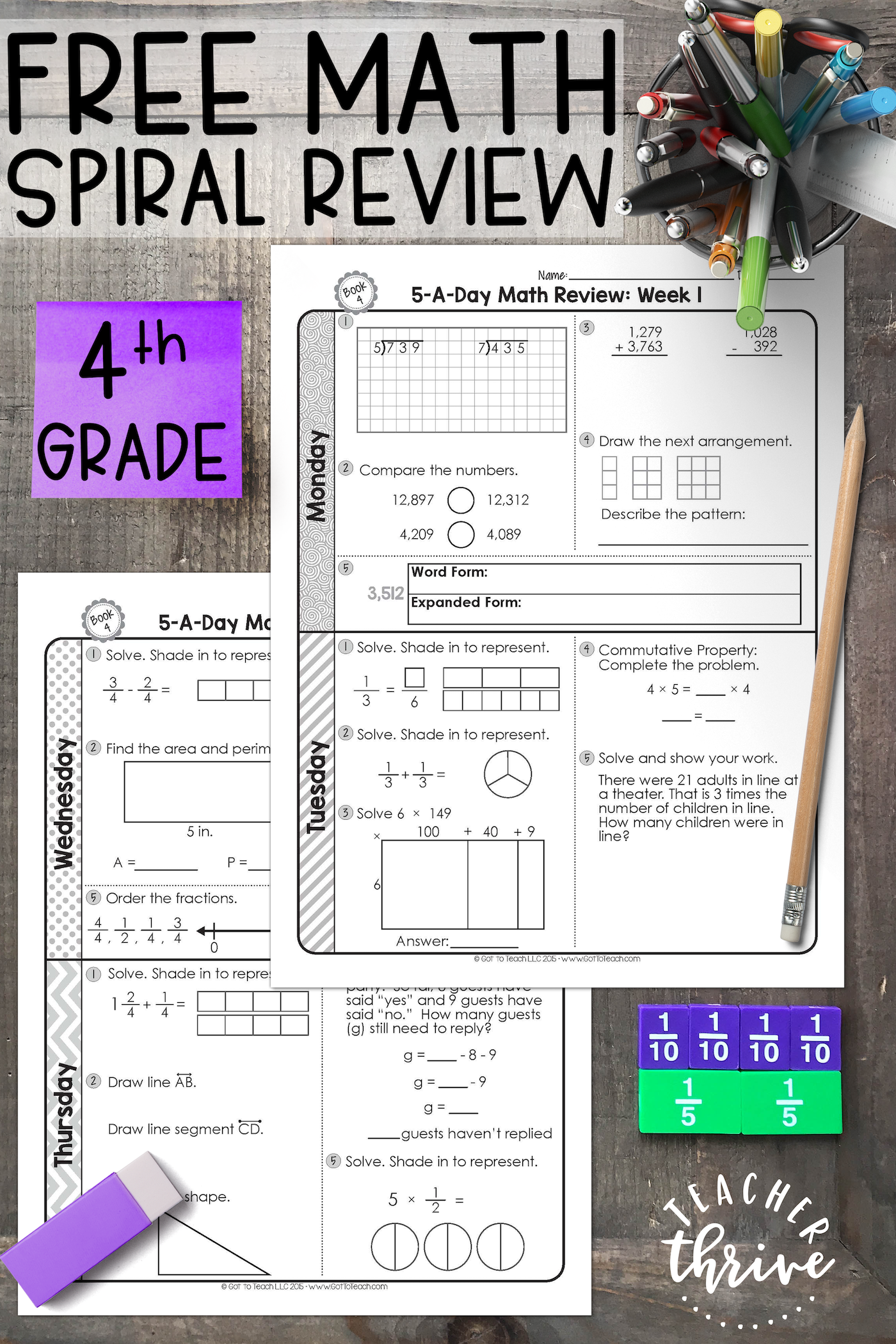 Free 4th Grade Daily Math Spiral Review