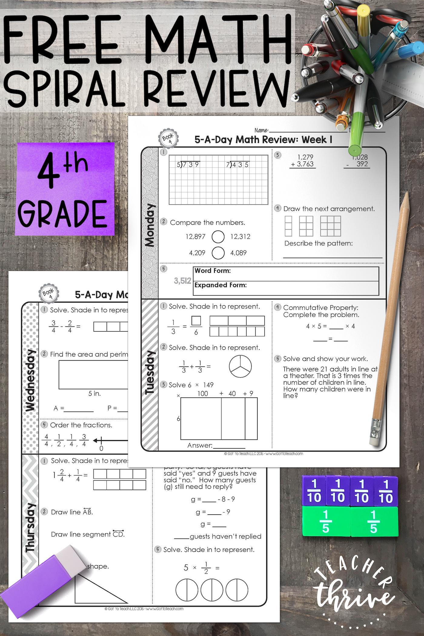 FREE 4th Grade Daily Math Spiral Review • Teacher Thrive   Math spiral  review [ 2100 x 1400 Pixel ]