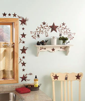 The Primitive Americana Style Of These Country Stars Berries Wall Decals Adds Charm To Walls With An Easy L And Stick Lication Emble Re