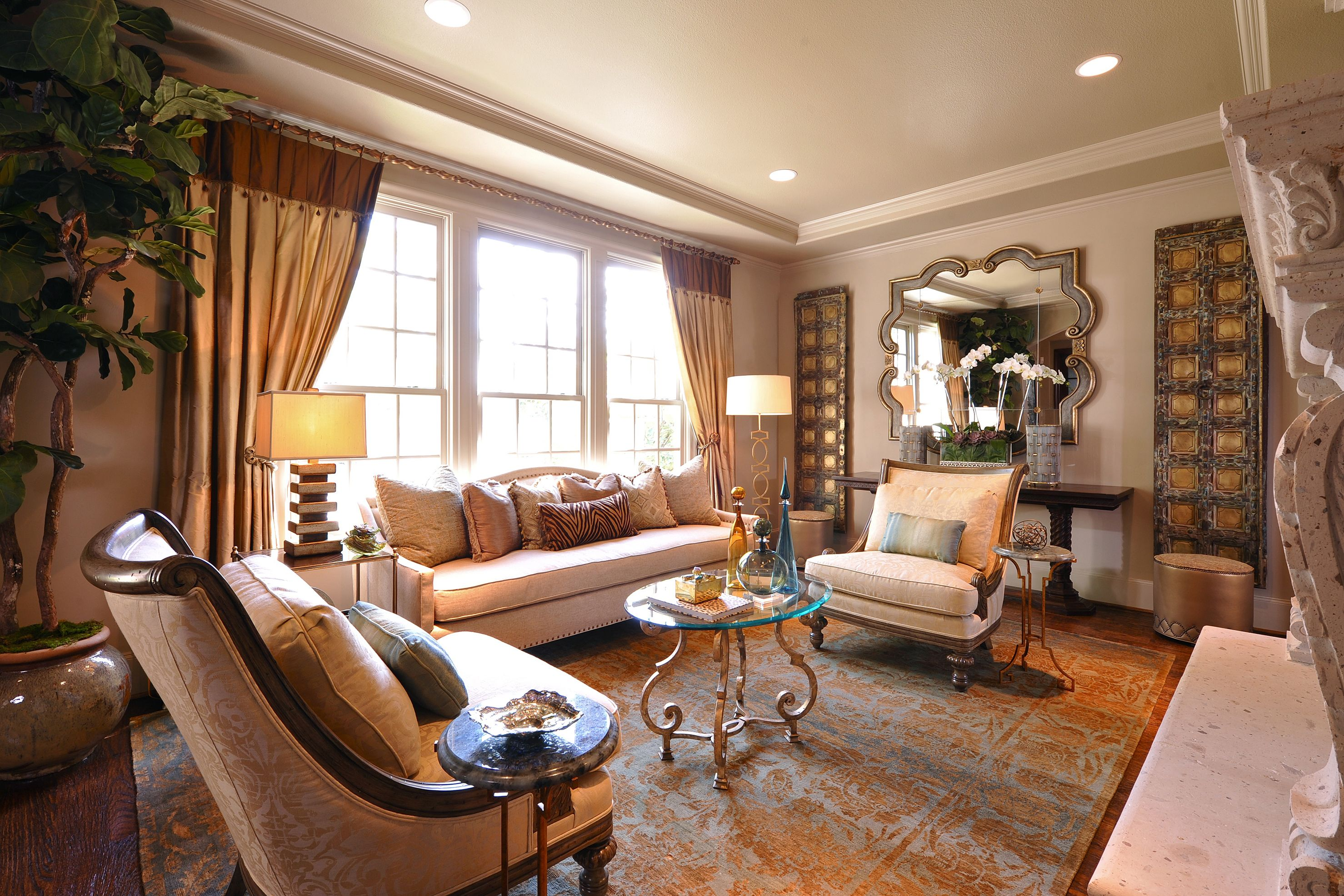 A Transitional Mediterranean Living Room. By Chelsea Hargrave Of Dallas  Design Group, Interiors.