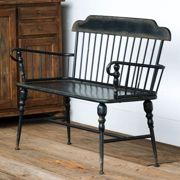 from magnolia home b b antique black metal windsor style bench