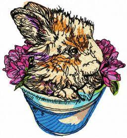 Rabbit in flower pot embroidery design. Machine embroidery design. www.embroideres.com