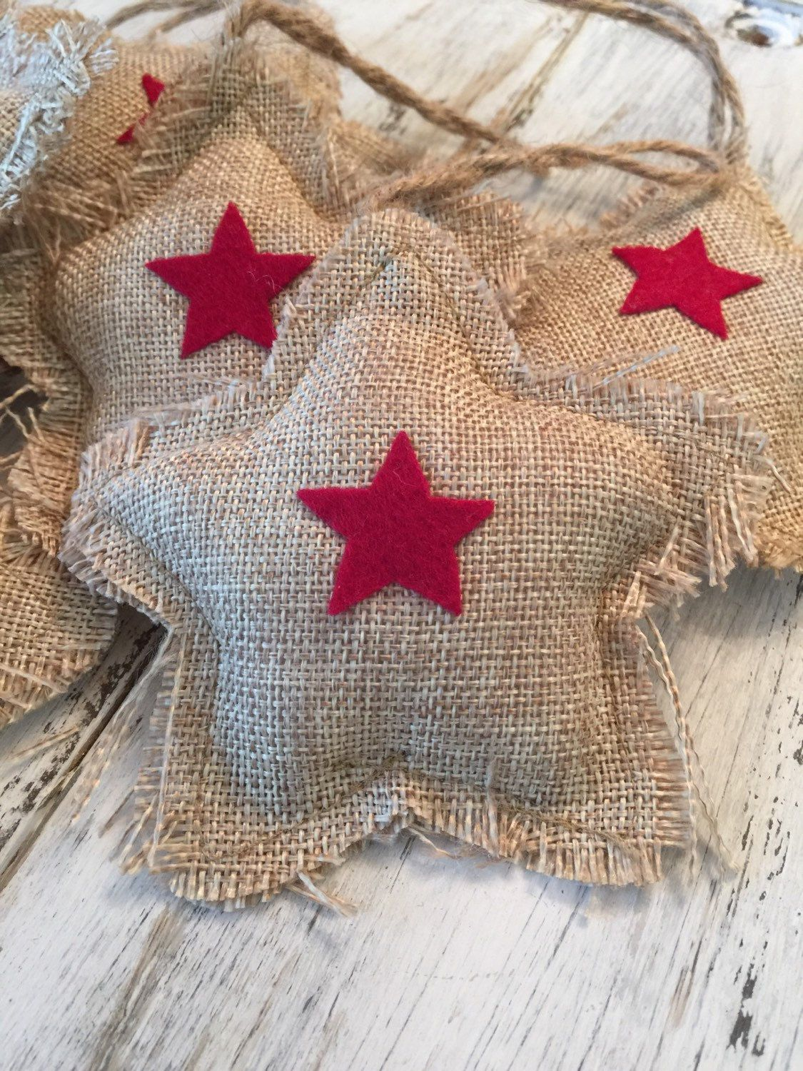 6 BURLAP STARS for Fourth of July - Star Shaped w Red Felt Appliques - Perfect Decoration - Country Wedding, Bridal Shower, Handmade Accent by PlanePaper4u on Etsy