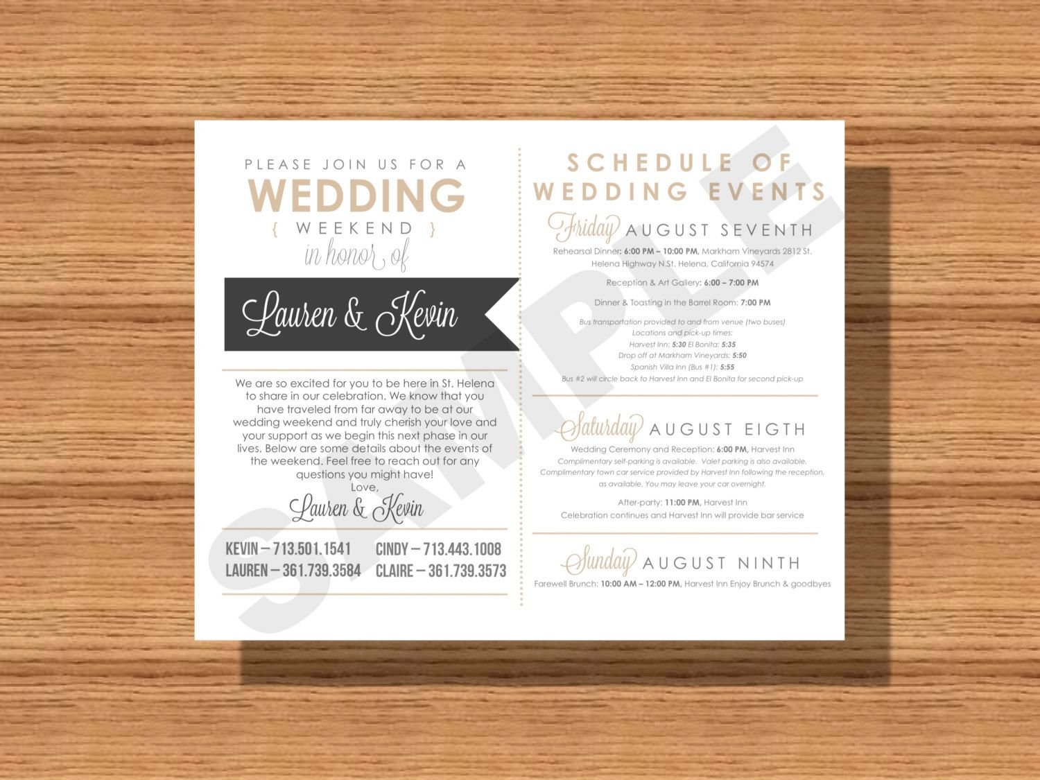 Wedding Weekend Itinerary Card Schedule Events For The Bridal