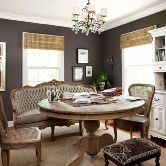 Gray Walls And Bamboo Blinds I Would Go Lighter Grey On The Color For Living Room Taupe Walls Dining Room Design Home