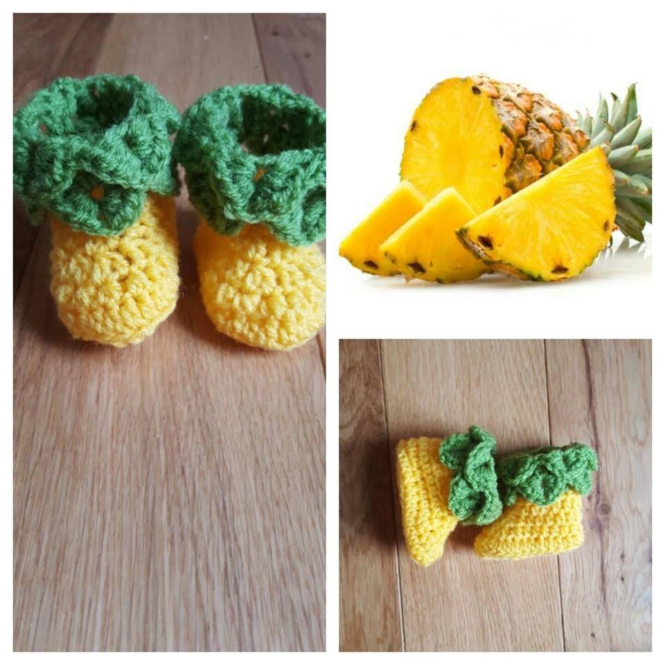 27fc6ae830cda crochet pineapple booties. #pineapple #fruit # booties # babyshoes ...