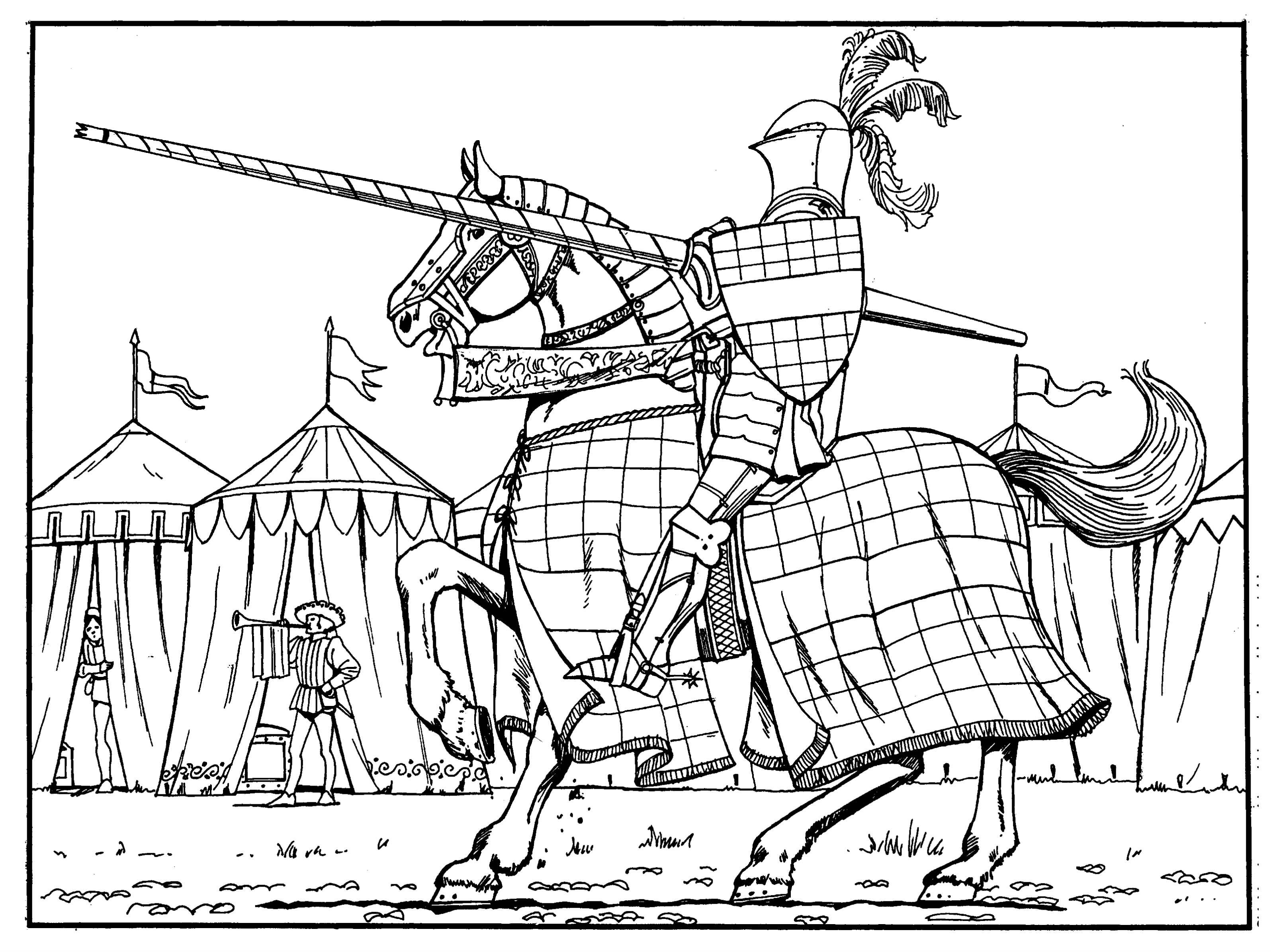 knight coloring free pages - photo#19