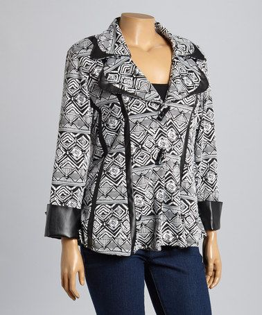 Another great find on #zulily! White & Black Diamond Jacket - Plus by Seven Karat #zulilyfinds