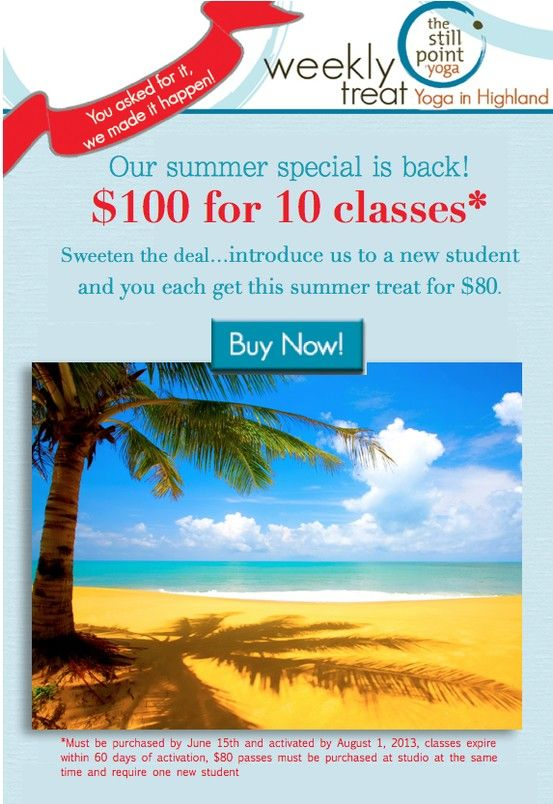 You asked for it, we made it happen! Our summer special is back....$100 for 10 classes. We've also sweetened the deal! http://ow.ly/lz5ju
