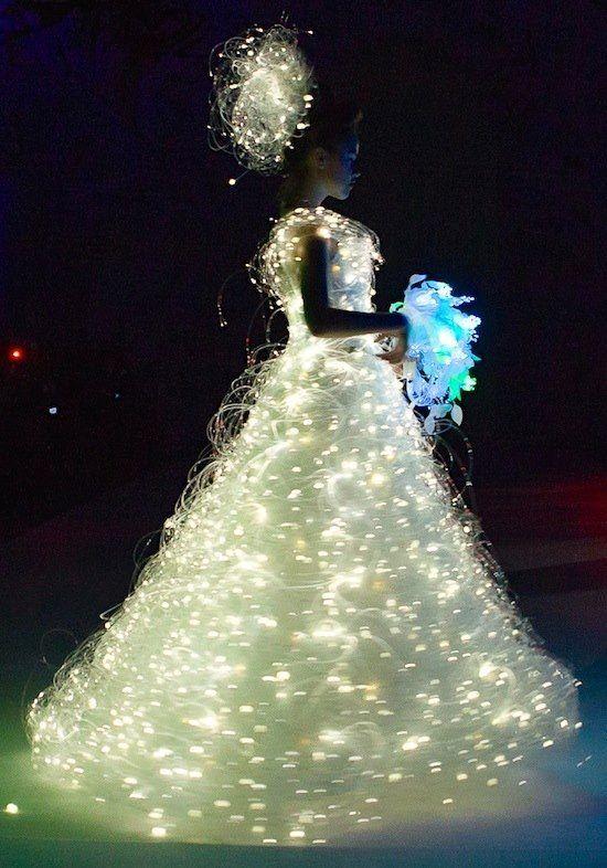 An Enchanting Wedding Dress with Swarovski Crystals and LED technology.. #ledtechnology