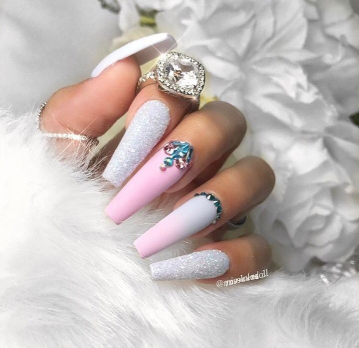 pink with white and crystals coffin nails