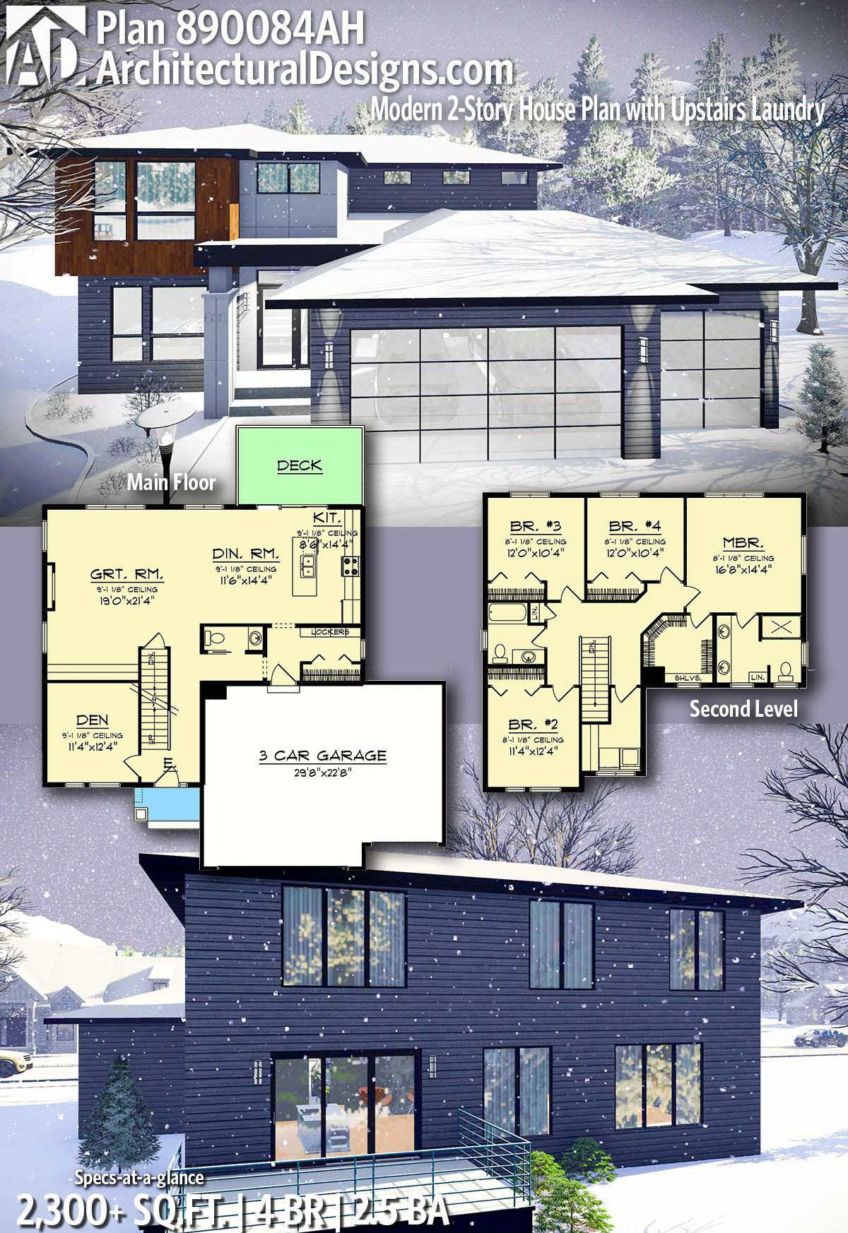 Plan 890084ah Modern 2 Story House Plan With Upstairs Laundry Modern House Plans Modern Architecture House Architecture Design