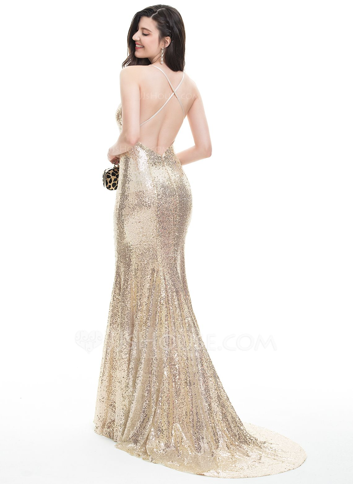 Fashion dress for wedding party  TrumpetMermaid Vneck Sweep Train Sequined Prom Dresses With