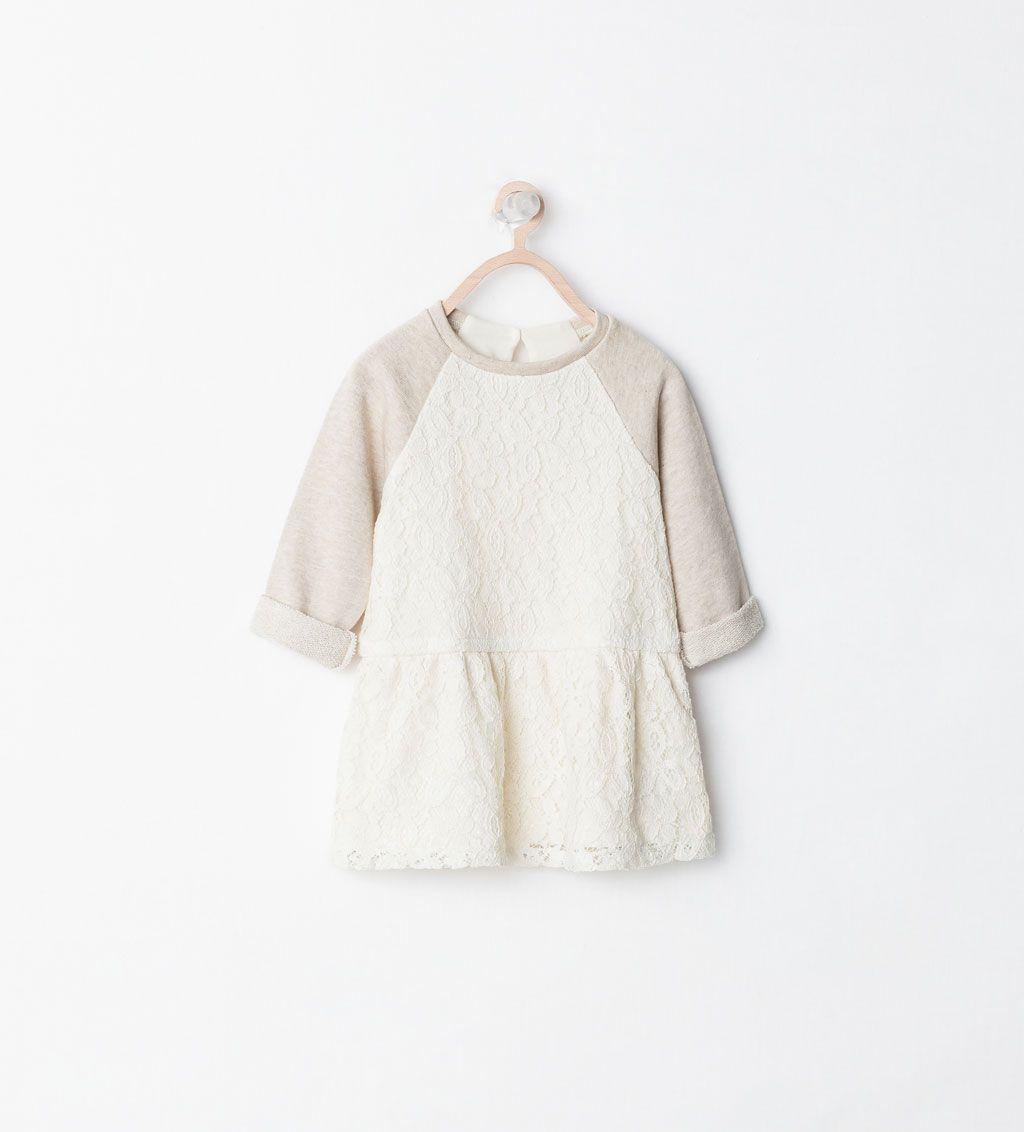 Zara kids mixed fabrics lace dress moda para ni as vestidos de encaje vestidos y ropa bebe Zara bebe nina rebajas