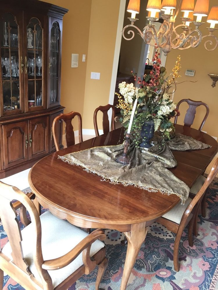 Solid Cherrywood Dining Room Set: China Cabinet, Table With Two Leaves  Inserts, Custom Made Protective Table Pad, Two Arm Chairs Four Side Chairs.