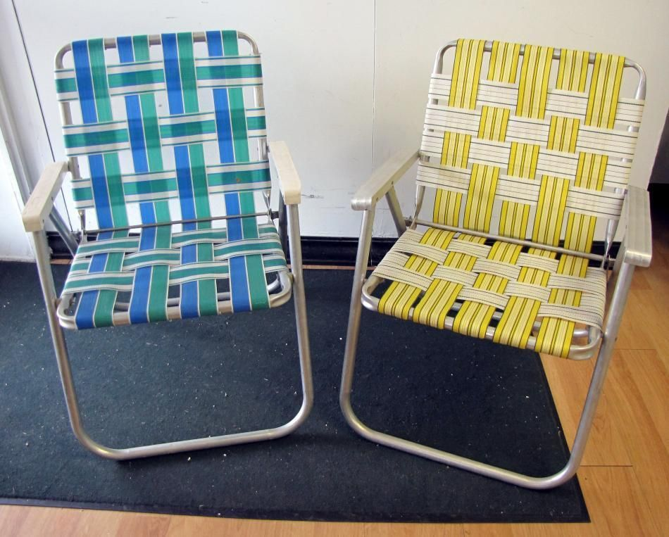 Pair Retro Vtg Vintage Folding Aluminum Lawn Chair Webbed Web Strap Patio Lounge