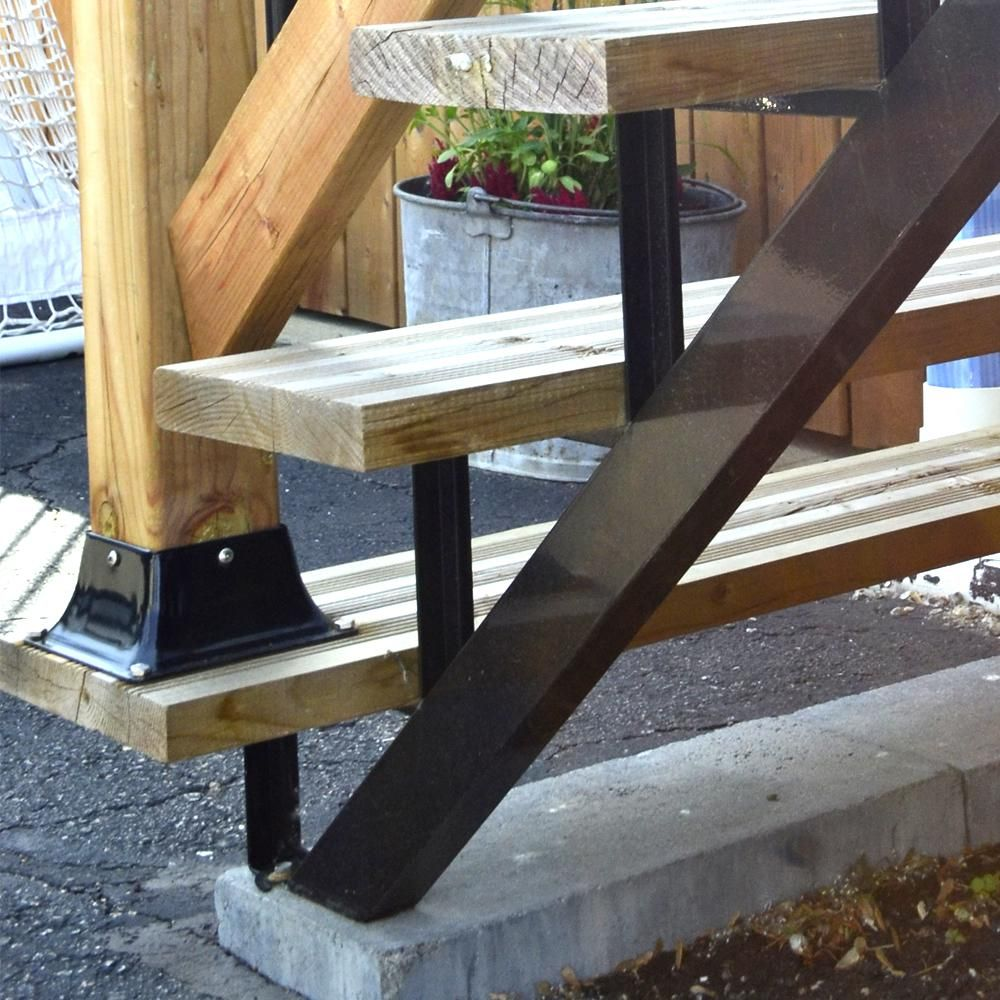Pylex 3 Steps Steel Stair Stringer Black 7 1 2 In X 10 1 4 In | Outdoor Wood Steps Home Depot | Treated Wood | Handrail | Spiral Staircase | Staircase | Concrete Steps