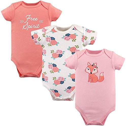 Hudson Baby Baby Cotton Short Sleeve Bodysuits 3 Pack Free Spirit 0 3 Months Baby Pajamas Hudson Baby Baby Girl Shorts