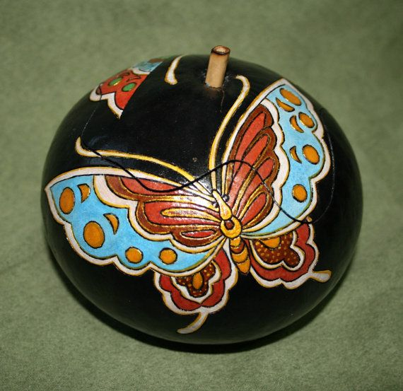 Asian Butterflies Covered Gourd Bowl Pyrographed by cchanart, $45.00