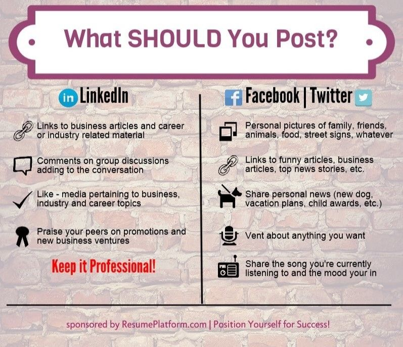 Letu0027s Keep LinkedIn Professional Infographic What SHOULD You - post a resume