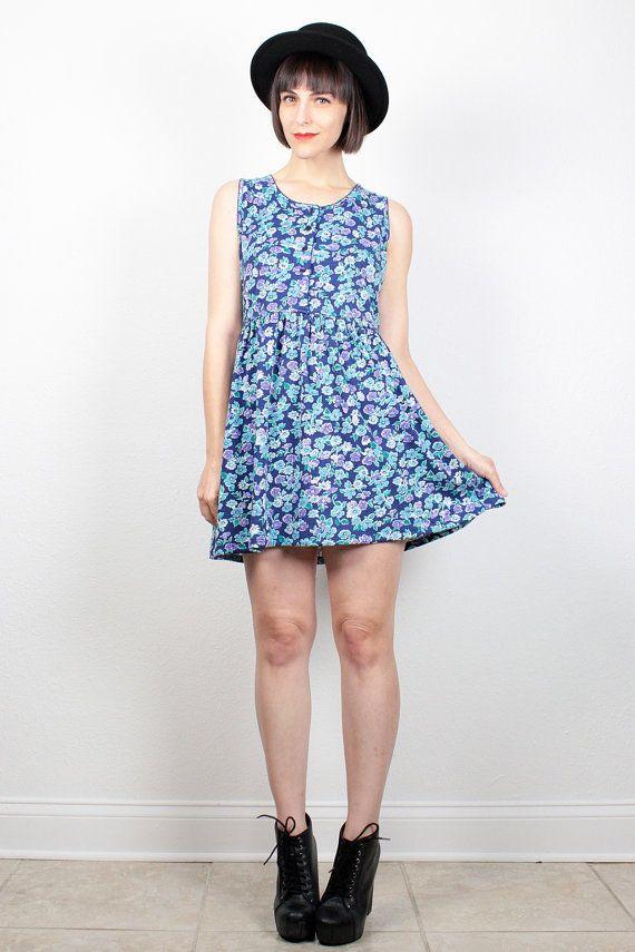 997ff7302f0 Vintage 90s Dress Babydoll Dress Navy Blue Teal Floral print Sleeveless  Sundress Mini Dress 1990s Dress