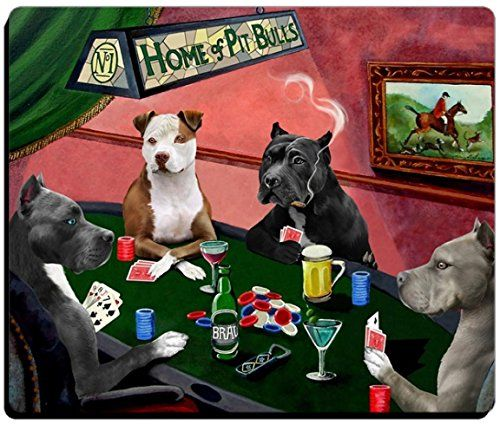 Home of Pit Bull Dogs Playing Poker Canvas Wall Art