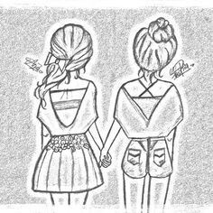 Tumblr Drawings Easy Bff Best Friend Simple Pencil Cool Friends Drawing Art Pics