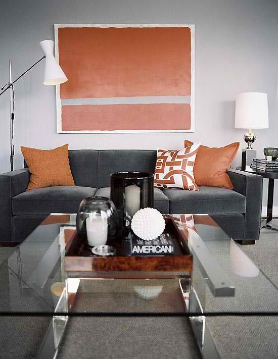 26 Amazing Living Room Color Schemes And Tips Grey And Orange