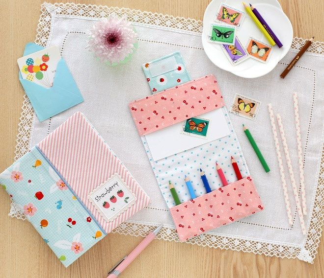 min crayon holder and notebook cover- sewing patterns by Gingercake ...