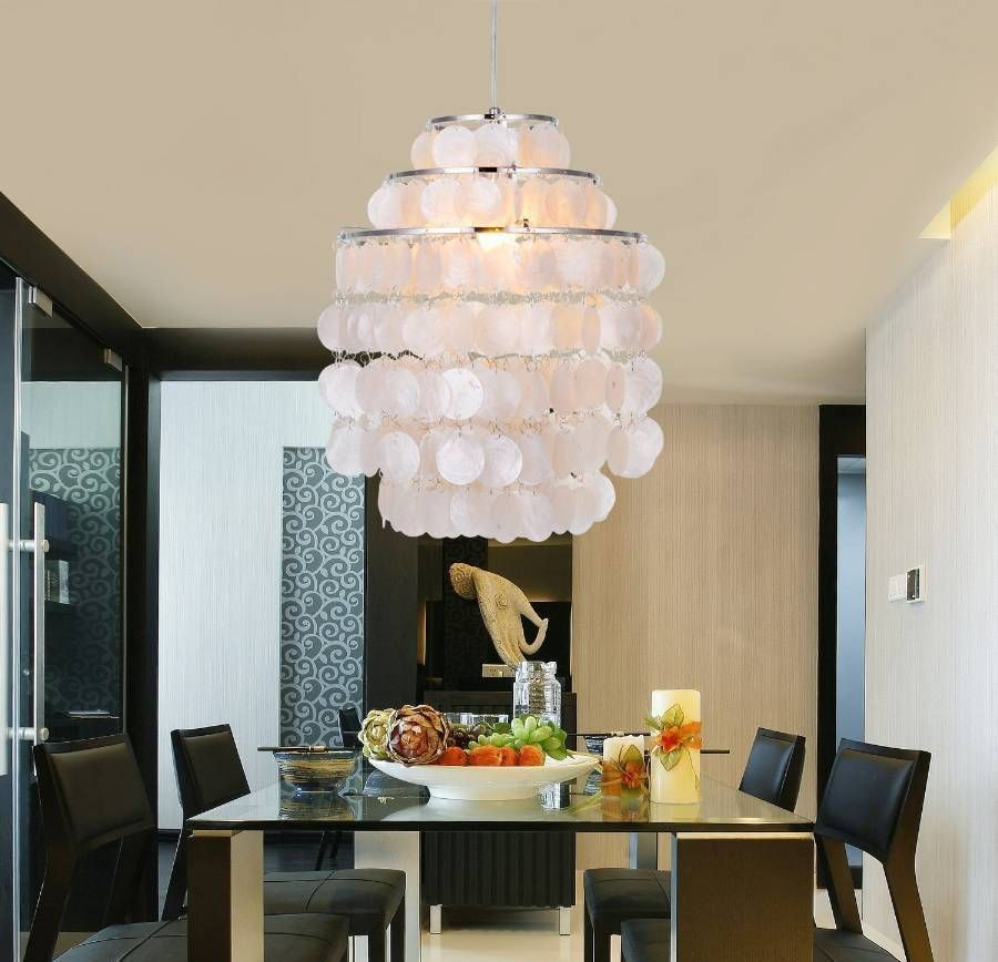 Most Lucrative Dining Room Interior Design Ideas To Beauty: Contemporary Dining Room With Capiz Shell Chandelier About