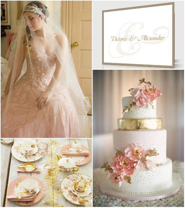 blush pink und golden hochzeit dekoration ideen hochzeitseinladungskarten hochzeitstorten und. Black Bedroom Furniture Sets. Home Design Ideas