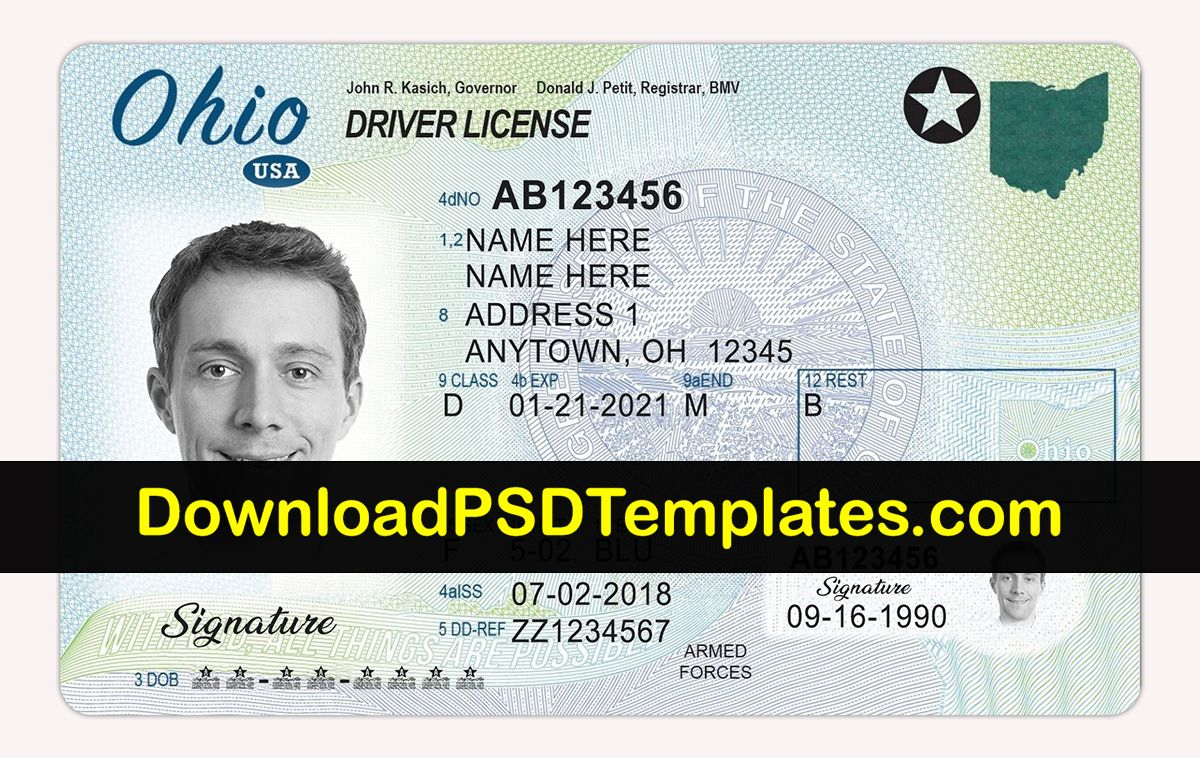 Ohio Driving License New Updated Latest Oh Psd Template Id Card Template Drivers License Blank Id Cards