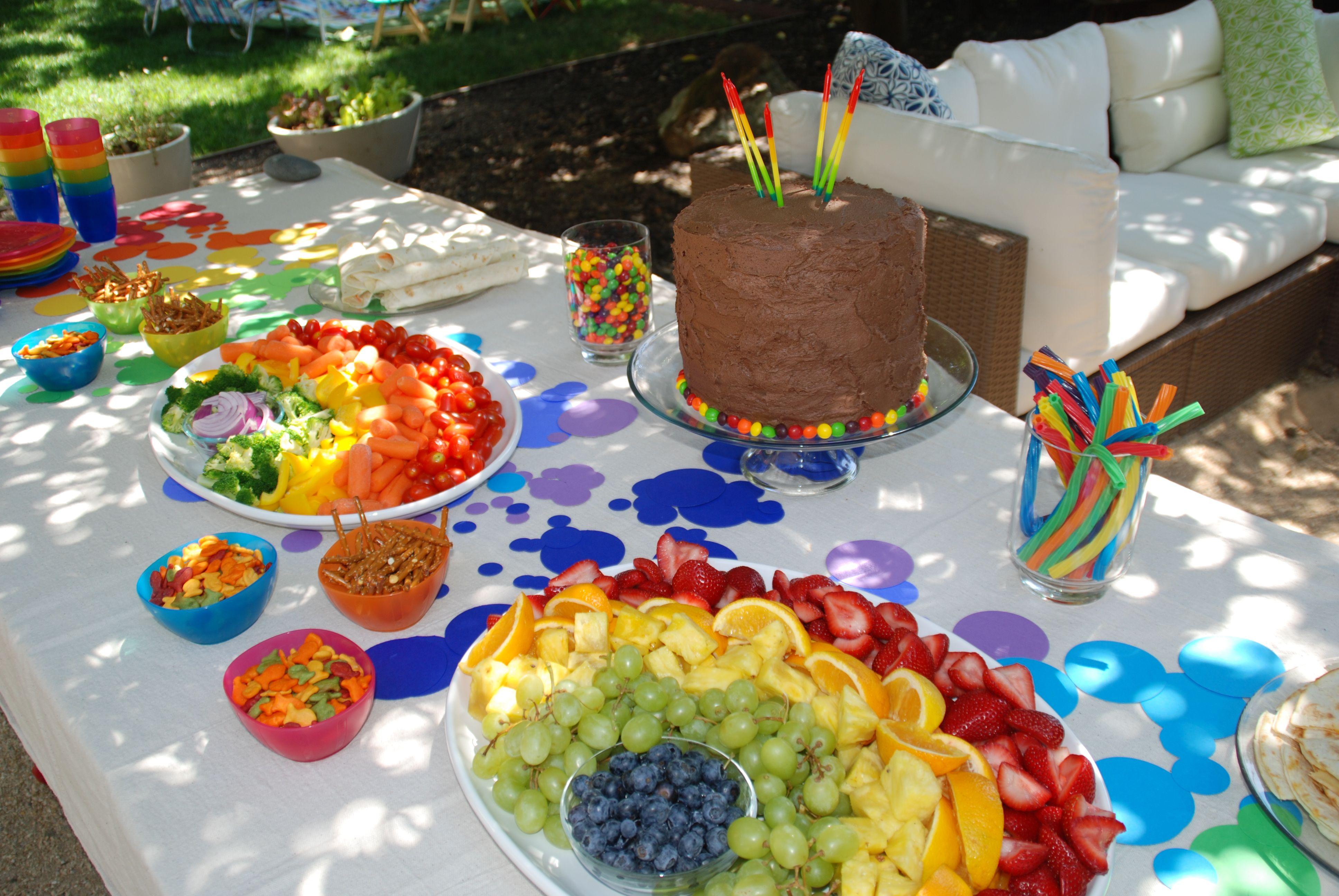 Rainbow food table