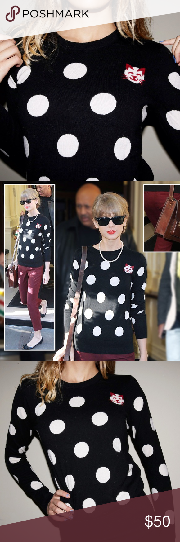 AS SEEN ON TAYLOR SWIFT French Connection Sweater Stylish and cute, black and white, polka-dot sweater with adorable red kitty accent. Even Taylor Swift approves of this sweater! This is a lovely layering piece for winter and a perfect gift for any cat lover, Swift lover, polka-dot lover, or sweater lover! ❤🐱 Fitted Medium, would work on smalls as well. Great condition, only worn a few times! French Connection Sweaters Crew & Scoop Necks