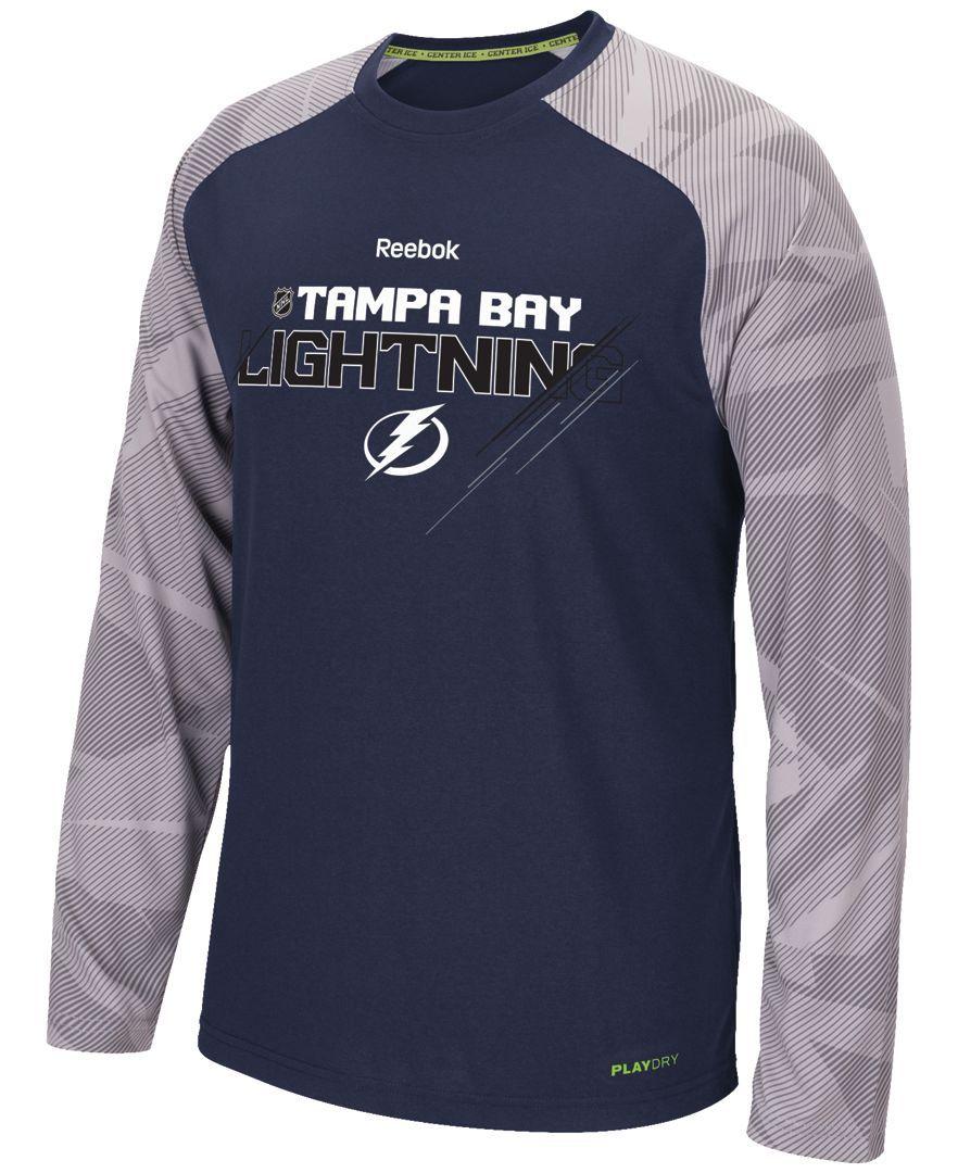 Reebok Men S Long Sleeve Tampa Bay Lightning Center Ice Tnt T Shirt Tampa Bay Lightning Tampa Tampa Bay [ 1080 x 882 Pixel ]