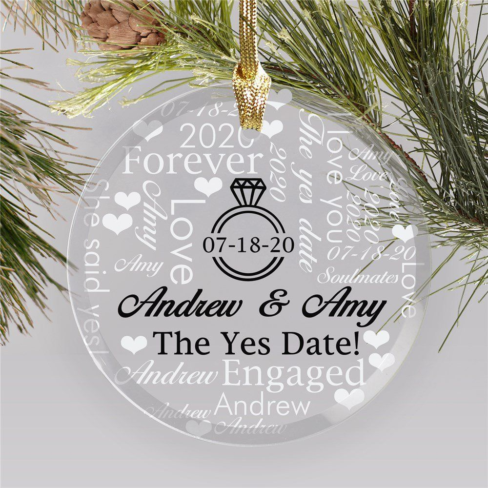 The Yes Date Word Art Round Glass Personalized Engagement Ornament Engagement Ornaments Personalized Christmas Tree Ornament Engagement Christmas Ornament
