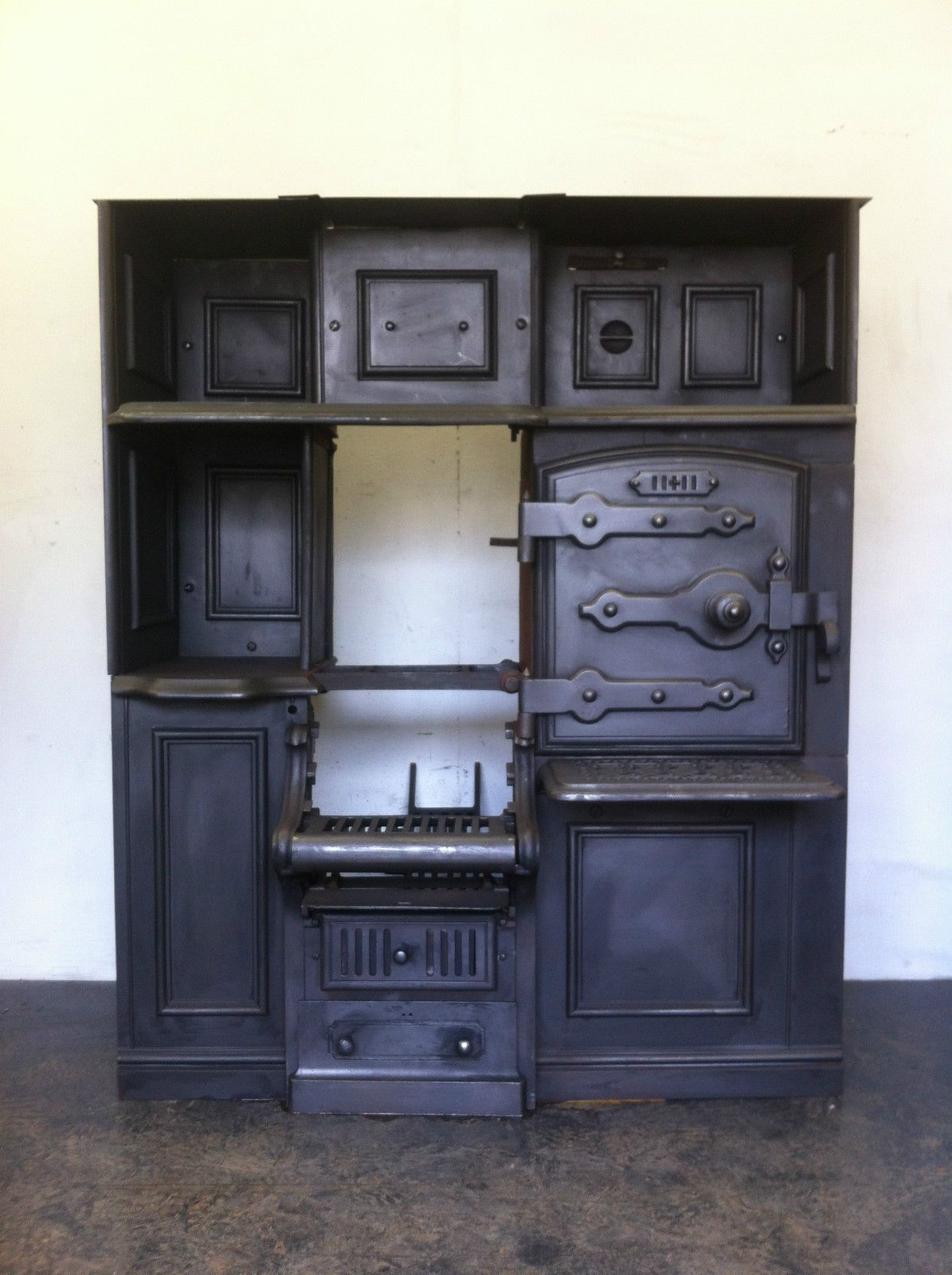 restored antique victorian cast iron kitchen cooking range