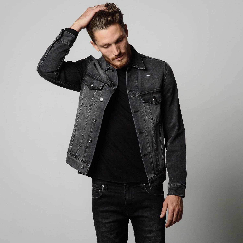 Denim Jacket Mens Denim Jacket In Worn Charcoal Denim Jacket Denim Jacket Men Jackets