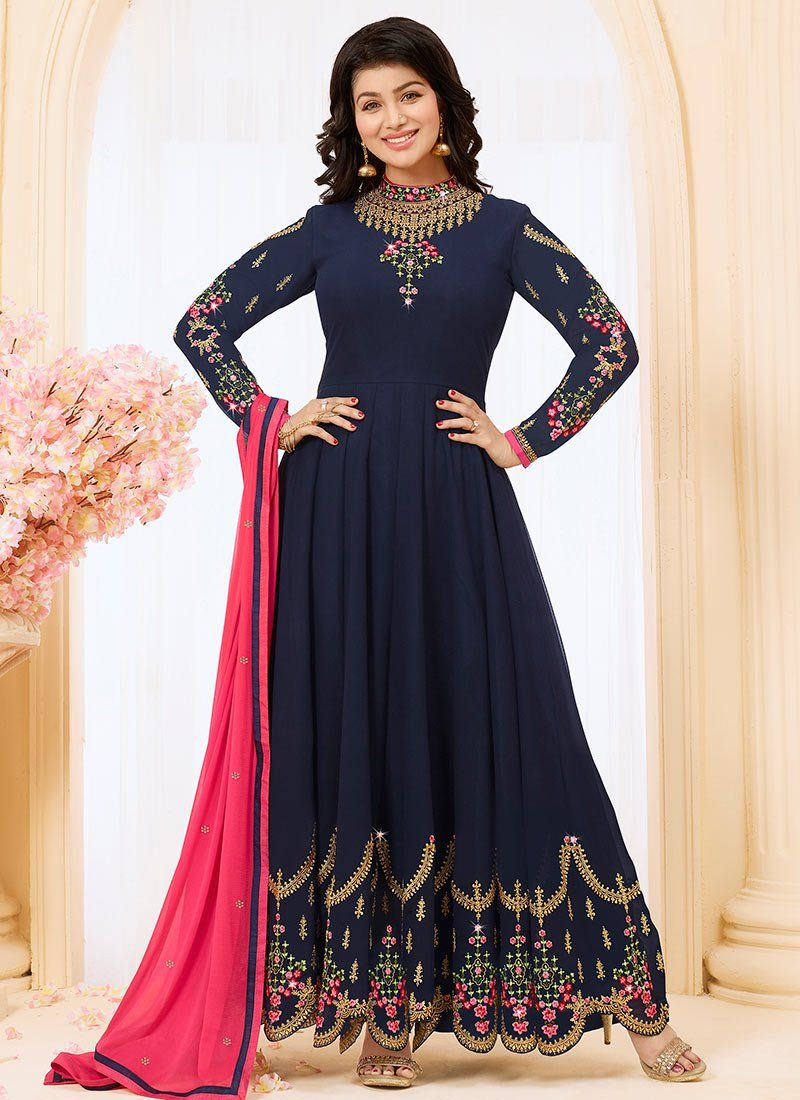 df9b68b930 Buy Ayesha Takia Navy Blue Embroidered Anarkali Suit online, SKU Code:  SLSLI3025. This Blue color Party anarkali suit for Women comes with  Embroidered Faux ...
