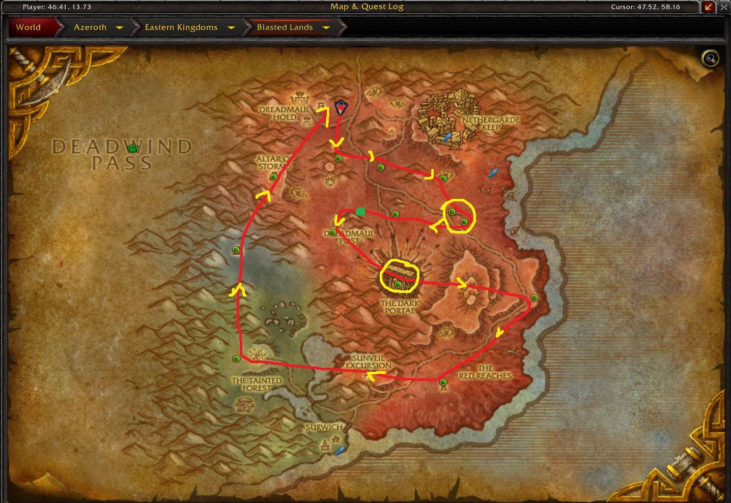 Blasted Lands Rares Nodes / Spots Farming Route