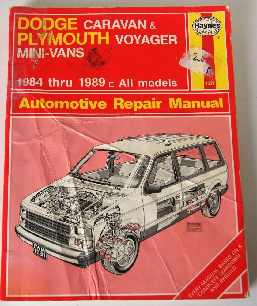 Haynes Repair Manual Dodge 1231 1984 Thru 1989 Caravan Plymouth
