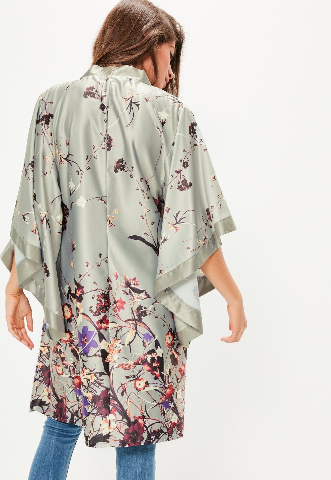 Grey Oriental Printed Kimono Sleeve Jacket - Missguided