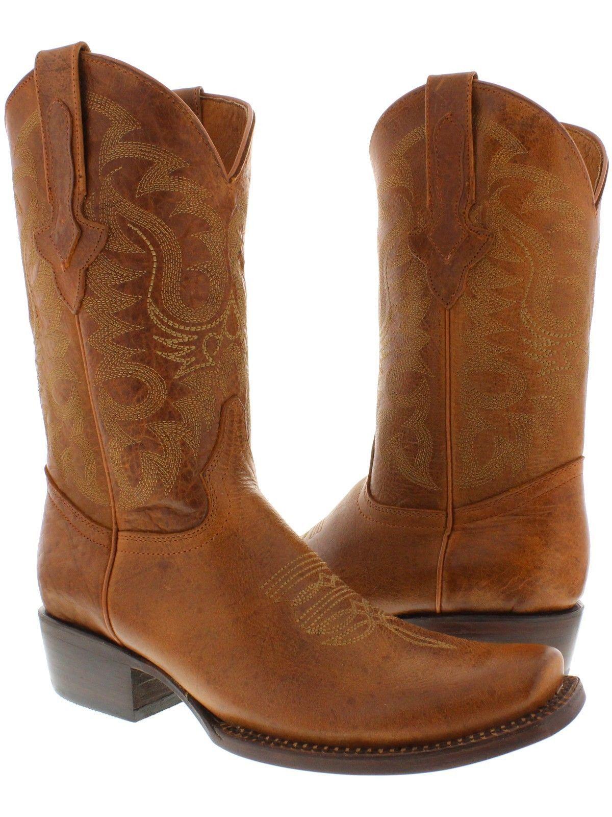 Men's cowboy boots cognac plain soft leather classic western biker rodeo  brown   Western boots for men, Boots, Mens cowboy boots