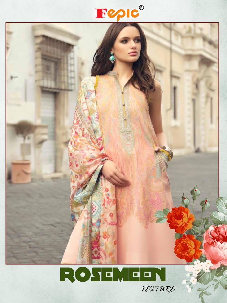 e212b486f2 Fepic Rosemeen Texture Cambric Cotton Pakistani Suit (6 Pc Set ...